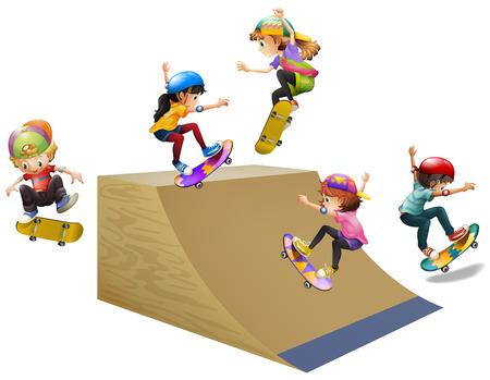 ramp: Children skateboard on wooden ramp illustration