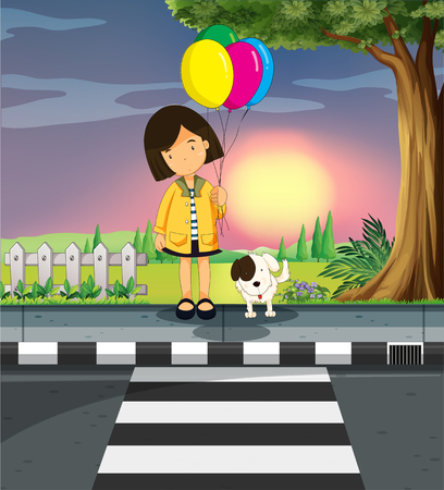 zebra crossing: Girl and dog crossing the road illustration