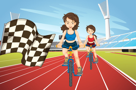 racing bike: Women racing bike in the field illustration