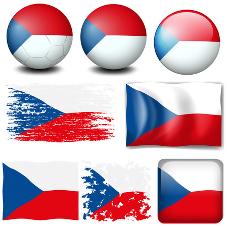 signal device: Czech Republic flag in different designs illustration