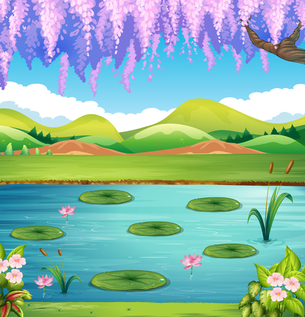 lily pad: Scene with lake and hills illustration