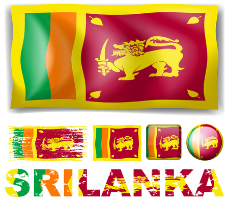 signal device: Sri Lanka flag in different designs illustration Illustration