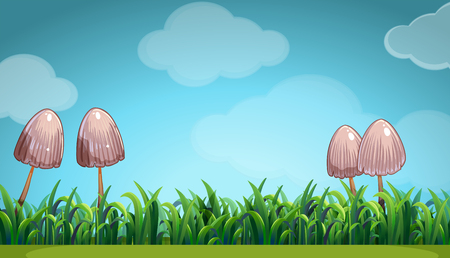 tropical garden: Scene with mushroom in the field illustration Illustration