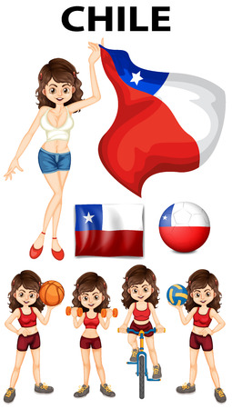 chile flag: Chile flag and woman athlete illustration