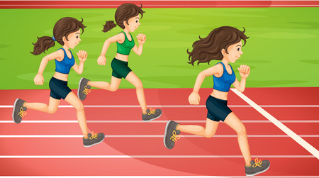 sports field: Three women running in the track illustration Illustration