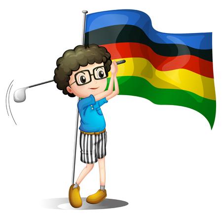 golf player: Flag and golf player illustration Illustration