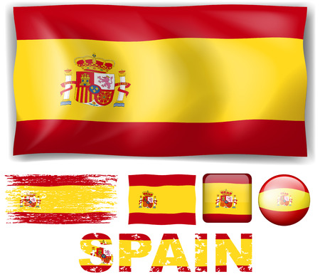wording: Spain flag in different designs and wording illustration