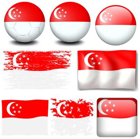 Singapore flag on different items illustration