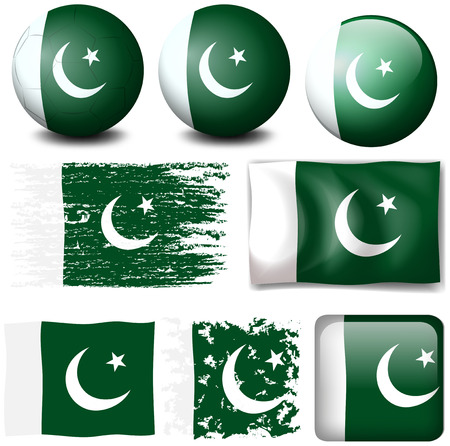 pakistan flag: Pakistan flag on different objects illustration Illustration