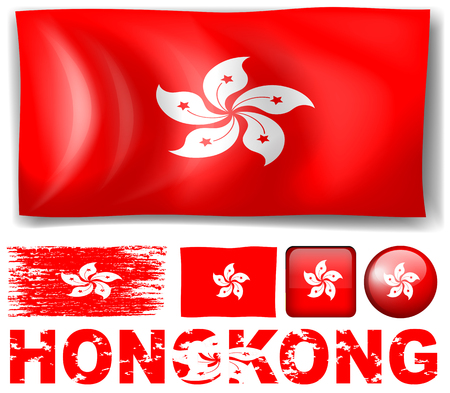 signal device: Hong Kong flag in different designs and wording illustration