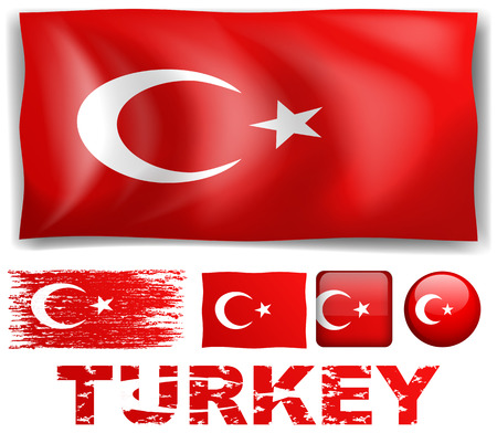 signal device: Turkey flag in different designs illustration Illustration