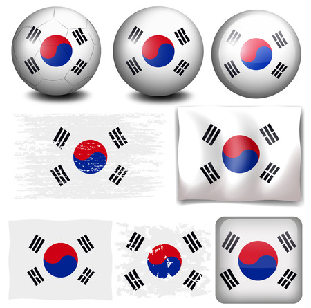 South Korea flag on different objects illustration Illustration