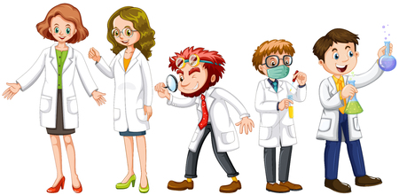 biologist: Male and female scientists in white gown illustration