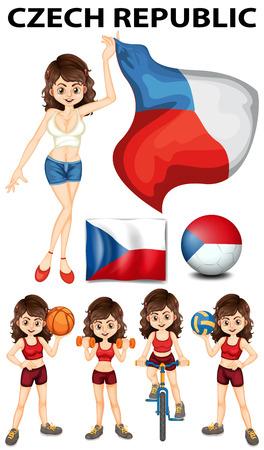 czech republic flag: Czech Republic flag and many sports illustration Illustration