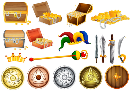 weapons: Treassure chest and weapons illustration
