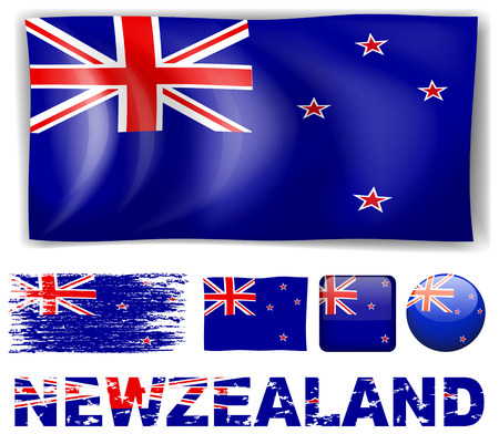 signal device: New Zealand flag in different designs and wording illustration