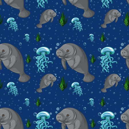 manatee: Seamless background with manatee underwater illustration Illustration