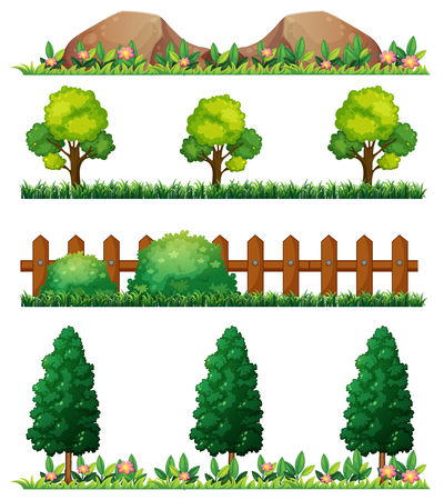 rock garden: Seamless rocks and fences illustration