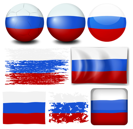 signal device: Russia flag on different items illustration