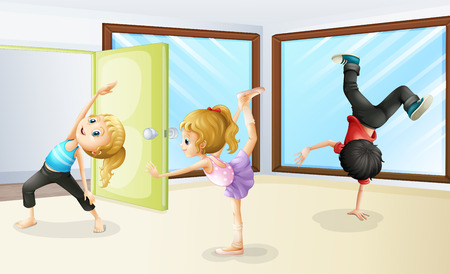 stretching: Three kids stretching and dancing illustration