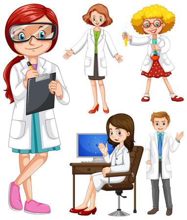 scientists: Scientists in white gown illustration Illustration