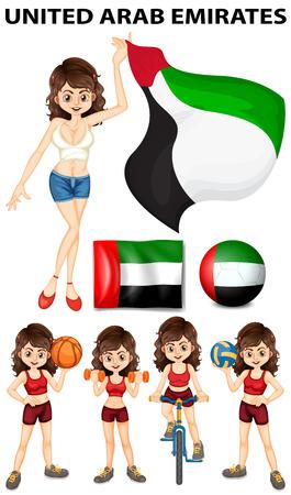 United Arab Emirates flag and athletes illustration