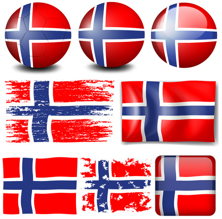 norway flag: Norway flag on different objects illustration