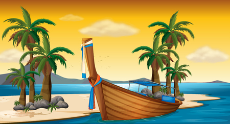 sunset beach: Wooden boat on the shore illustration