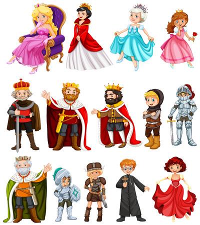 Różne postacie króla i królowej ilustracji