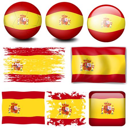 Spain flag in different design illustration