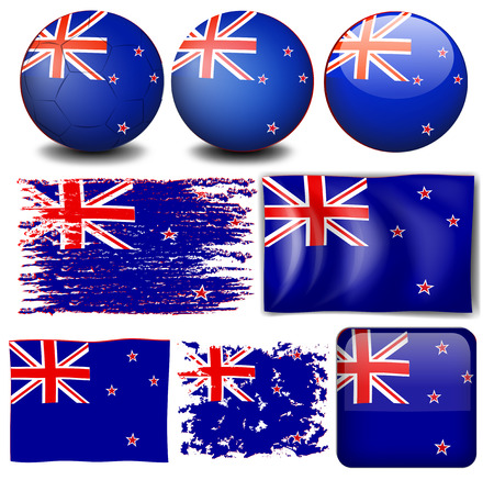 bandera de nueva zelanda: bandera de Nueva Zelanda en diseños diferentes ilustración