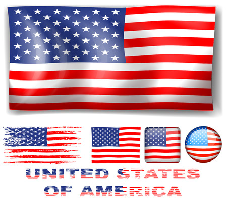stated: Different designs of United Stated of America flag illustration