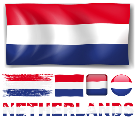 netherland: Netherland flag in different designs illustration