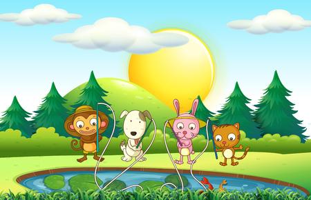 garden pond: Animals fishing in the pond illustration