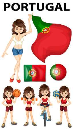 drapeau portugal: Portugal drapeau et femme athl�te illustration