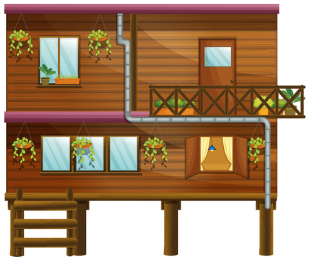 balcony: Wooden house with two stories illustration