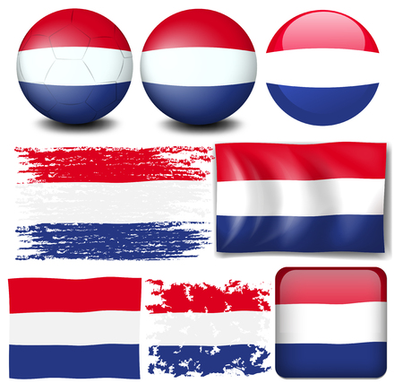 signal device: Nederland flag in different design illustration