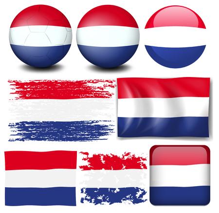 nederland: Nederland flag in different design illustration