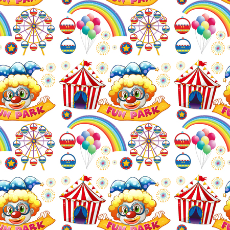 amusement park rides: Seamless clowns and circus illustration