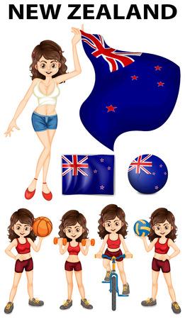 bandera de nueva zelanda: bandera de Nueva Zelanda y la mujer deportista ilustraci�n