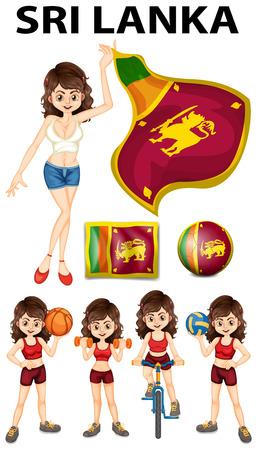 sri lanka: Sri Lanka flag and woman athlete illustration