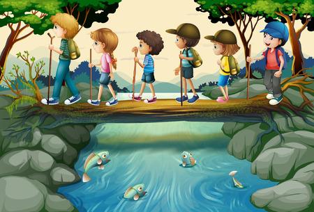Kinderen wandelen in het bos illustratie