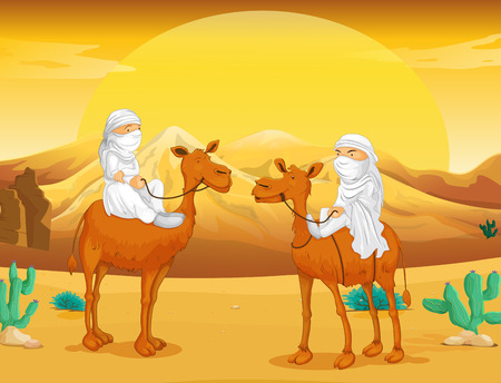 camels: Arabs riding on camels at desert illustration Illustration