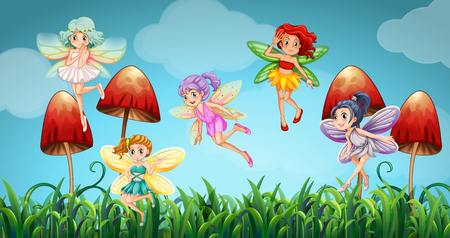 fantacy: Fairies flying in the mushroom garden illustration