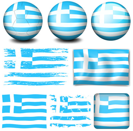 signal device: Greece flag in different designs illustration