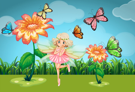 butterfly myth: Fairy and butterflies in the garden illustration