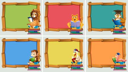Marcos de madera con animales de la lectura de libros ilustración Foto de archivo - 57028459
