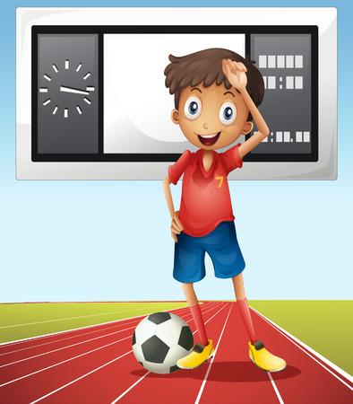 score board: Soccer player and score board illustration Illustration