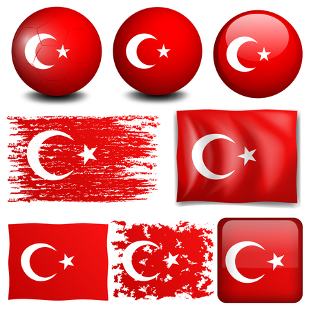 Turkey flag on different objects illustration