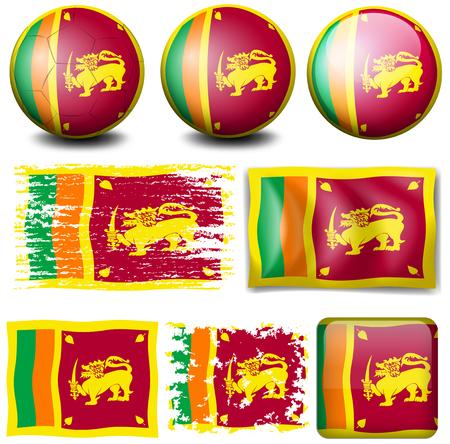 sri: Sri Lanka flag on different objects illustration
